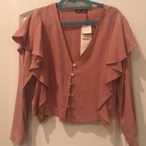 Dusty rose colored Zara buttoned top size M